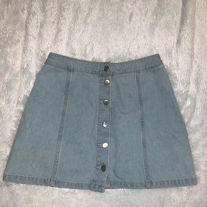 Light wash button jean skirt